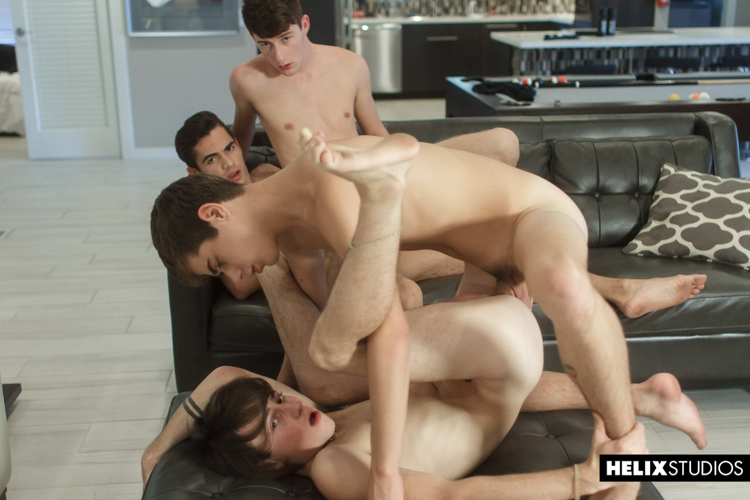 Four gay porn stars from the American porn site Helix Studios having an orgy.  American Gay Twinks
